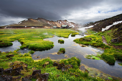 Geothermal hot springs next to lava field at Landmannalaugar, Iceland